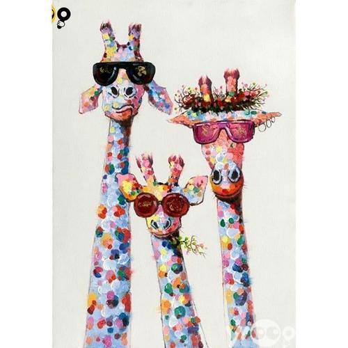 5D Diamond Painting Three Abstract Giraffes Kit