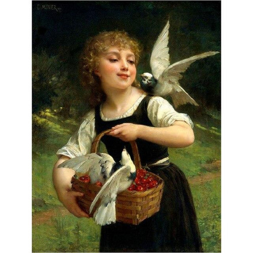 5D Diamond Painting Girl with Two Birds Kit