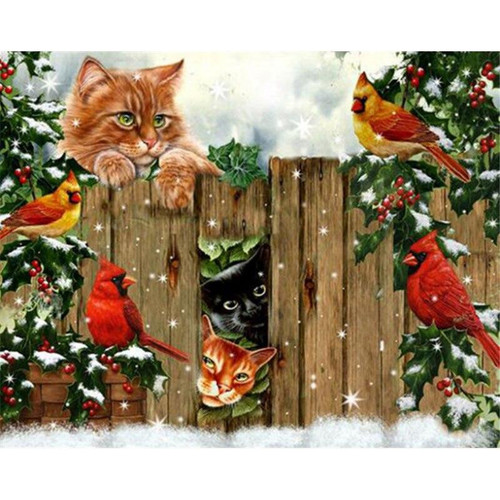 5D Diamond Painting Christmas Cats & Cardinals by the Fence Kit