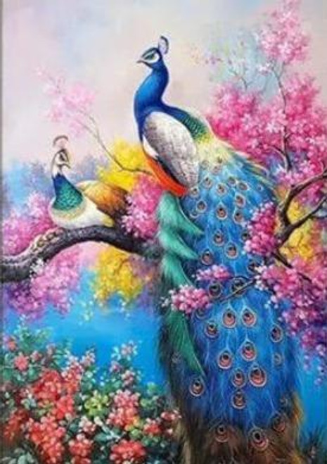5D Diamond Painting Peacocks in Colorful Flowers Kit
