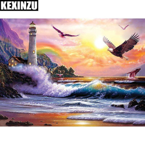 5D Diamond Painting Lighthouse and Eagles Kit