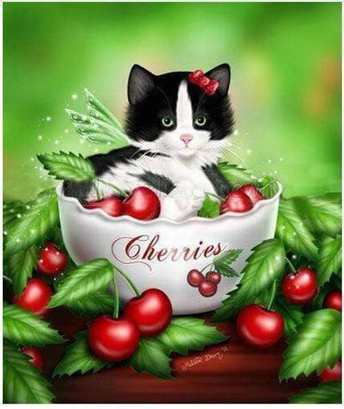 5D Diamond Painting Bowl of Cherries Kitten Kit