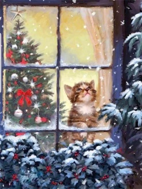 5D Diamond Painting Kitten Watching the Snow Kit