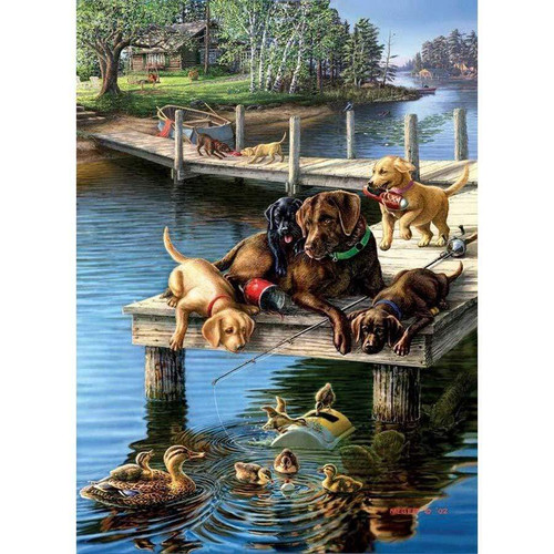 5D Diamond Painting Labradors on the Dock Kit