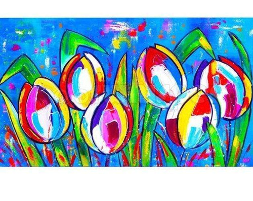 5D Diamond Painting Abstract Colorful Tulips Kit