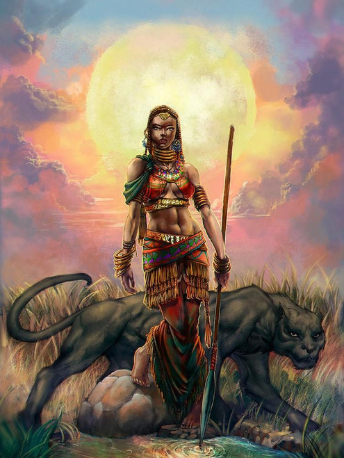 5D Diamond Painting Woman Warrior and Panther Kit