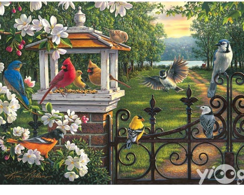 5D Diamond Painting Birds and a Wrought Iron Fence Kit