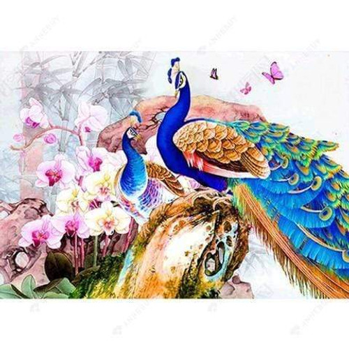 5D Diamond Painting Two Peacocks and Orchids Kit