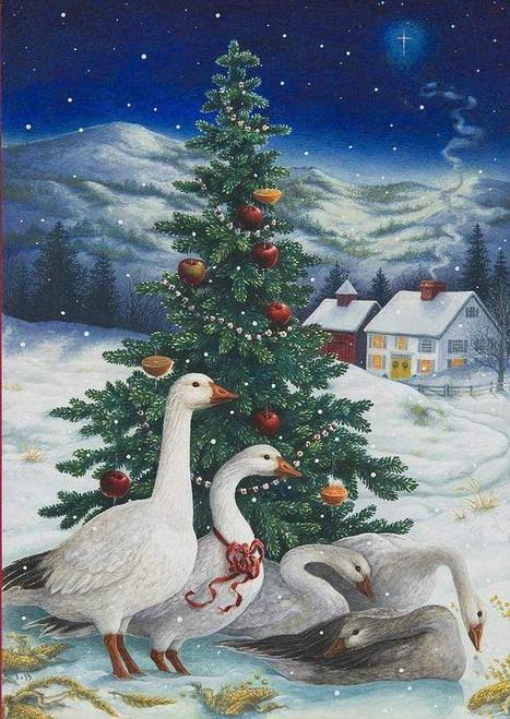 5D Diamond Painting Geese Christmas Tree Kit