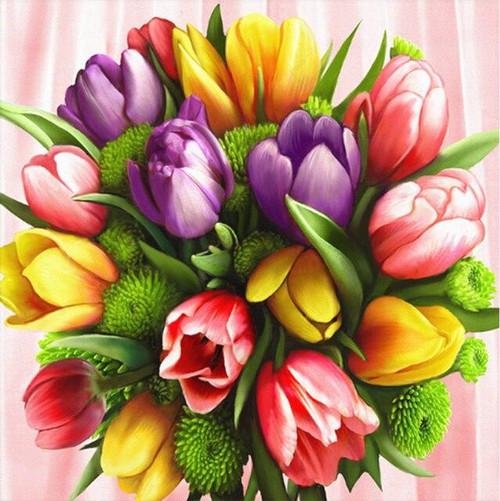 5D Diamond Painting Purple, Pink &  Yellow Tulips Kit