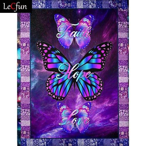 5D Diamond Painting Faith Hope Love Butterfly Kit