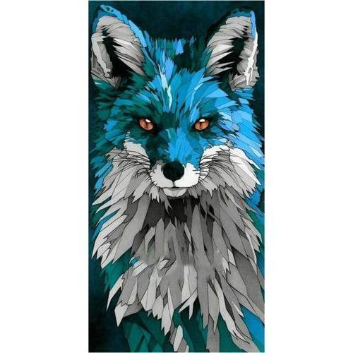 5D Diamond Painting Blue Abstract Fox Kit