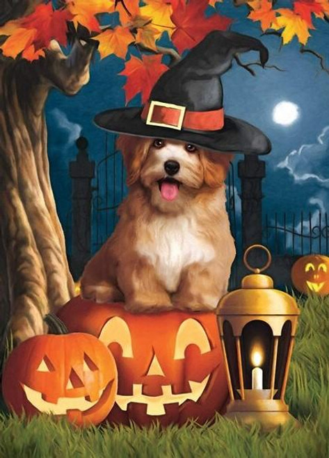 5D Diamond Painting Witch Hat Puppy Kit