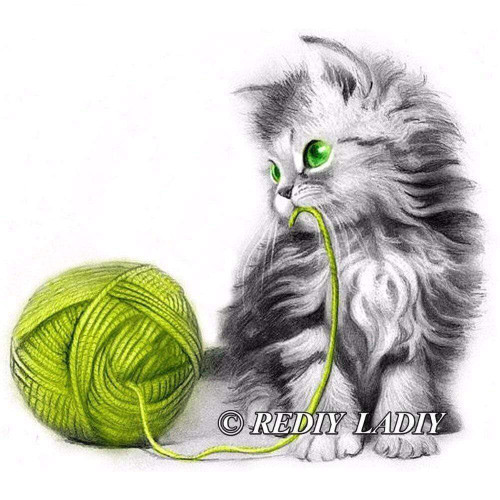 5D Diamond Painting Kitten and a Green Ball of Yarn Kit