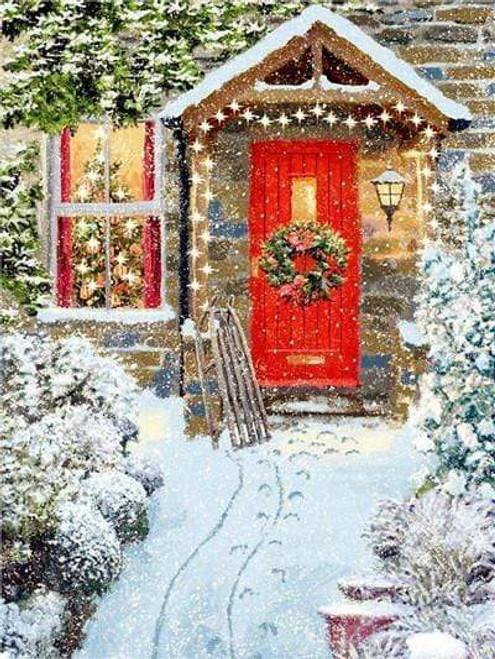 5D Diamond Painting Red Door Christmas Wreath House Kit