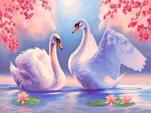 5D Diamond Painting Pink Blossom Swans Kit