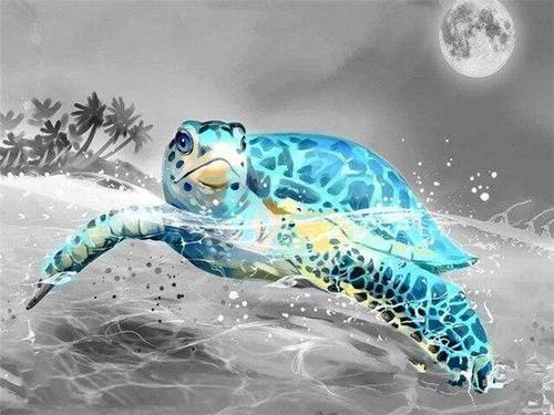 5D Diamond Painting Full Moon Turtle Kit
