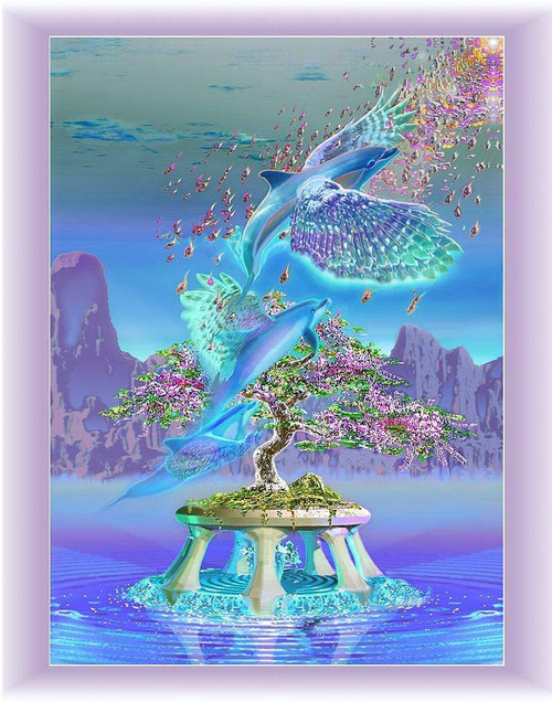 5D Diamond Painting Flying Dolphins Kit