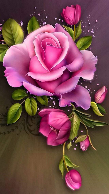 5D Diamond Painting Bright Pink Rose Kit