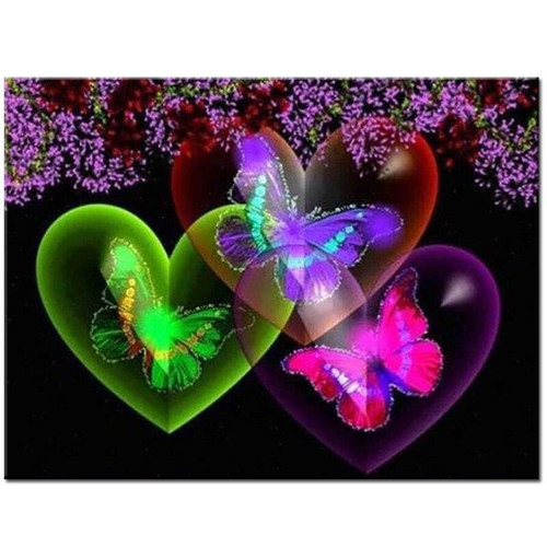 5D Diamond Painting Three Hearts and Butterflies Kit