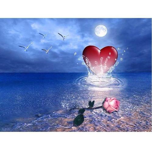 5D Diamond Painting Pink Rose Heart Kit