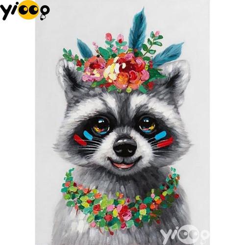 5D Diamond Painting Raccoon and Flowers Kit