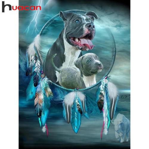 5D Diamond Painting Pitbull Dream Catcher Kit