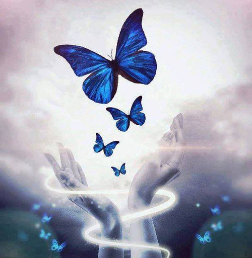 5D Diamond Painting Blue Butterfly Hand Release Kit