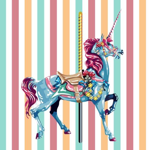5D Diamond Painting Blue Carousel Horse Kit