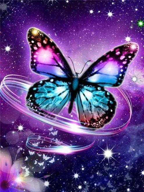 5D Diamond Painting Purple Butterfly Swirls Kit