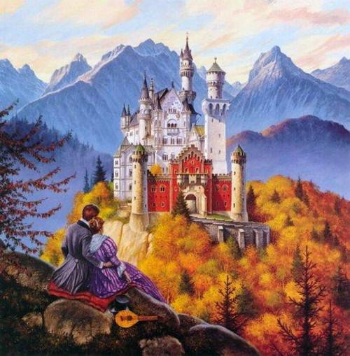 5D Diamond Painting Couple Castle View Kit