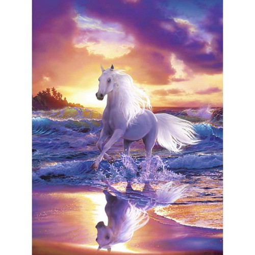 5D Diamond Painting White Horse in the Surf Kit