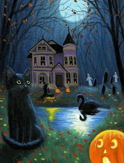 5D Diamond Painting Black Swan Haunted House Kit