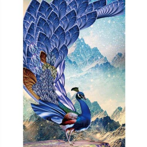5D Diamond Painting Blue Tail Peacock Kit