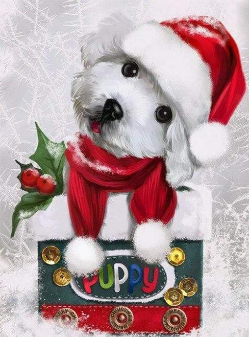 5D Diamond Painting White Santa Hat Christmas Puppy Kit