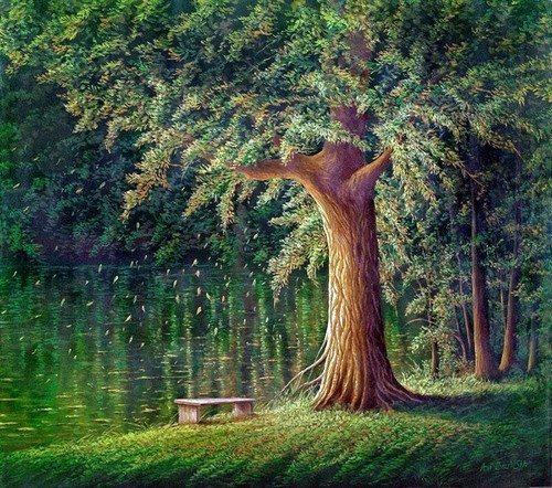 5D Diamond Painting Bench Under the Tree Kit