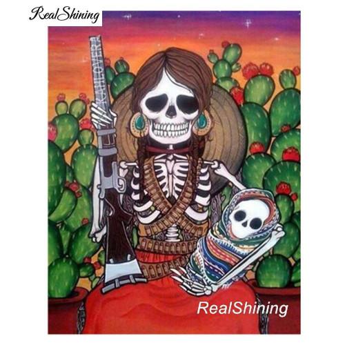 5D Diamond Painting Skull Woman and Baby Kit
