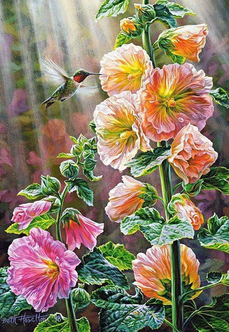 5D Diamond Painting Little Hummingbird Flowers Kit