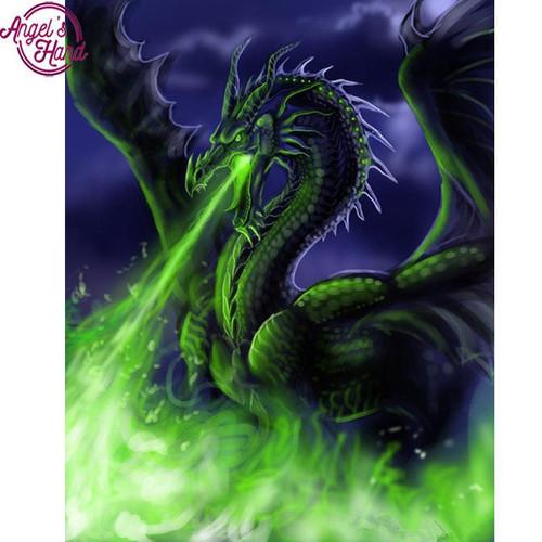 5D Diamond Painting Green Flame Dragon Kit