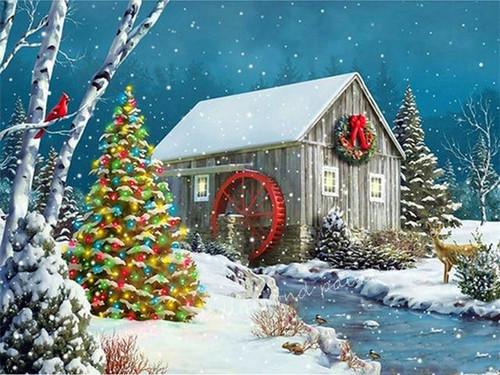 5D Diamond Painting Red Wheel Christmas Mill House Kit