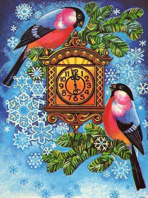 5D Diamond Painting Two Birds and a Clock Kit