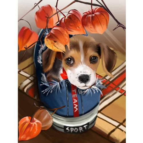 5D Diamond Painting Puppy in a Tennis Shoe Kit
