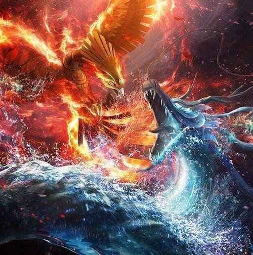 5D Diamond Painting Fire Phoenix and Water Dragon Kit