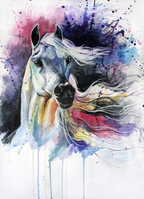 5D Diamond Painting Splatter Paint White Horse Kit