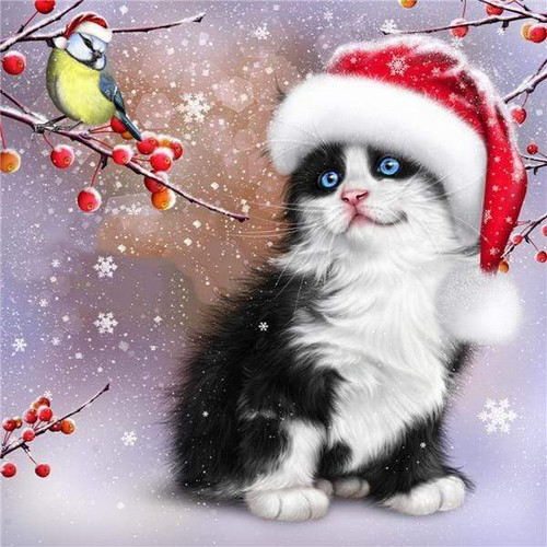5D Diamond Painting Santa Hat Bird and Cat Kit