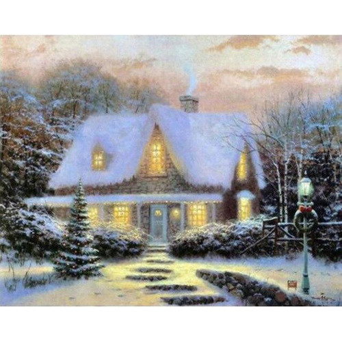 5D Diamond Painting Glowing House in the Snow Kit