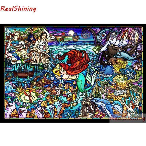 5D Diamond Painting Abstract Little Mermaid and Flounder Kit