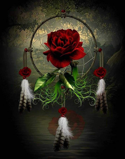 5D Diamond Painting Red Rose Dream Catcher Kit