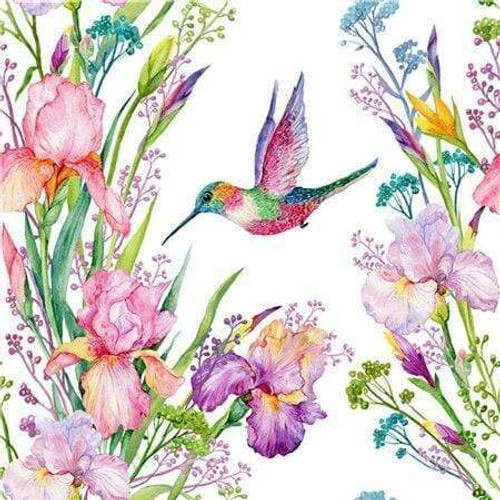 5D Diamond Painting Hummingbird and Irises Kit