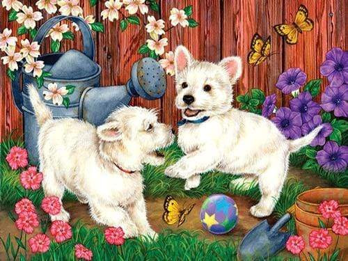 5D Diamond Painting Two White Puppies Kit